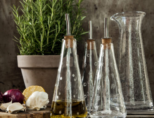 Season your own oil and serve it beautifully in an oil flask.
